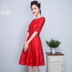 Spesifikasi Merah Mempelai Wanita Baru Musim Semi Gaun Kecil Baju Pelayanan Merah Tua Lengkap Dengan Harga