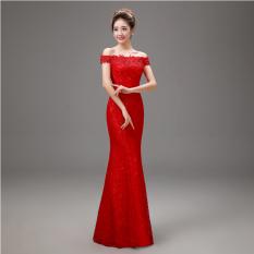 Merah Mempelai Wanita Menikah Baju Pelayanan Gaun Malam (Merah Gaun Pengantin Mermaid Qi)