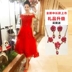 Beli Merah Terang Pengantin Perempuan Lengan Panjang Paragraf Pendek Pengantin Toast Pakaian Merah Merah China Setengah Panjang Model Bahu Sabrina Merah China Setengah Panjang Model Bahu Sabrina Secara Angsuran