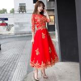 Beli Merah Mempelai Wanita Musim Semi Baru Perempuan Gaun Baju Pelayanan Merah Stand Up Kerah Ritsleting Dengan Kartu Kredit