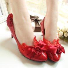 Merah Rajut Mawar Kupu Kupu Simpul Renda Gaun Sepatu Show Dengan Pengantin Di Sepatu Dengan Tinggi 8 5 Cm Kode Standar Di Tiongkok