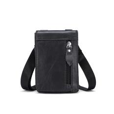 Toko Mes Genuine Leather Leisure Small Satchel Bag Funny Waist Pack For Men Black Intl Di Tiongkok