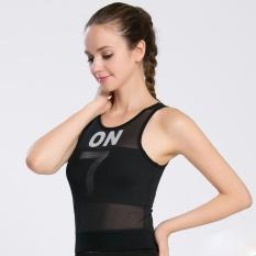 Mesh Patchwork Yoga Kebugaran Wanita Rompi Sejuk Dicungkil Tanpa Lengan Shirt Sport Menjalankan Yoga (Hitam)-Intl