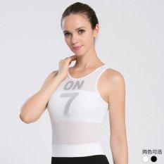 Mesh Patchwork Yoga Kebugaran Wanita Rompi Sejuk Dicungkil Tanpa Lengan Shirt Sport Menjalankan Yoga (Putih)-Intl