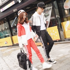 Mestery Couple Spor Suit 2017 Autumn New Style Korean-Style Stitching Hitcolor Hooded Jacket Female Slimming Effect Trousers Two-Piece Sets(Black [Two Sets]) - intl