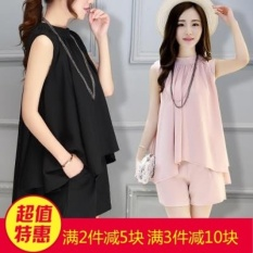 Mestery Europe Station 2017 New Style Women'S Fashion Chiffon Shirt Suit Slim Fit Slimming Effect Summer Sleeveless Shor Two Pieces (Pink Color) - intl