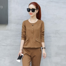 Mestery Korean-Style New Style Long-Sleeved Running Autumn And Dress (Khaki) - intl