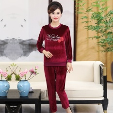 Mestery Middle-Aged Female Spring And Autumn Dress Gold Swan Velvet Casualspor Suit M Dress Plus-Sized Hoodie Spor Clothes Two-Piecese (Wine Red Color) - intl