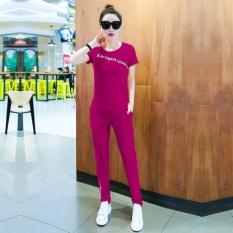 Mestery Spor Suit Female Musim Semi dan Musim Panas 2017 Gaya Baru Wanita Gaya Korea Kasual Efek Pelangsingan Fashion Pendek- Lengan Pan Dua Potong Se Tide (Ungu) -Intl