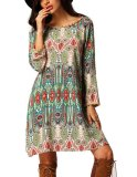 Tips Beli Mg Vintage Style Shift Dress Multi Warna Tassel Dekorasi Loose Beach Mini Dress Hijau Intl