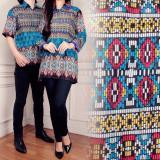 Jual Miacle Couple Atasan Blouse Batik Hanna Biru Murah Di Banten