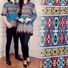 Toko Miacle Couple Atasan Blouse Batik Hanna Biru Online Banten
