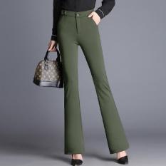 Micro Flare Pants Wanita Tinggi Pinggang Work Wear Stretch Trousers Plus Ukuran Women Casual Slim OL Profesional Celana Warna: Hijau Tentara-Internasional