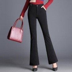 Micro Flare Pants Wanita Tinggi Pinggang Work Wear Stretch Trousers Plus Ukuran Women Casual Slim OL Profesional Celana Warna: Hitam-Intl