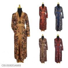 Mila Style - Baju Gamis Batik Semi Sutra Motif Jokowi - Multicolor