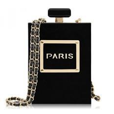 Milisente Women Black Acrylic Evening Bag Perfume Bottle Paris Shape Clutches Purse - intl