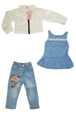 Mini Jeans Setelan Jaket Denim Inner Dress Celana Jeans Putih Biru Asli