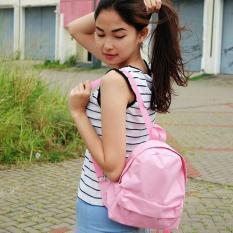 Mini Ransel Kanvas Polos RM05 - Ransel Mini Ransel Lucu Tas Ransel Tas Bahu Modis Motif Kekinian - Soft Pink