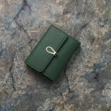 Beli Mini Kecil Dompet Wanita Pendek Gesper Lembut Kulit Dompet Fashion Wild Two Folding Kartu Paket Hijau Tua Internasional Seken