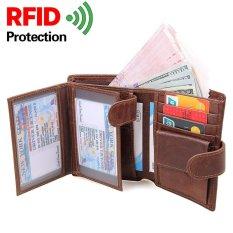 Minimalis Kulit Sapi Asli RFID Blocking Slim Wallet Vintage Trifold Tipis Men ID Dompet Koin Dompet Klip dengan Kartu dan Tempat Foto (kopi) -Intl