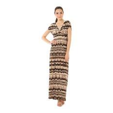 Beli Mint Helina Maxi Dress Brown Black Printed Online