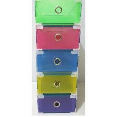 Miracle 5 pcs Kotak sepatu slide warna dengan metal list, ring dan sudut plastik - Size M