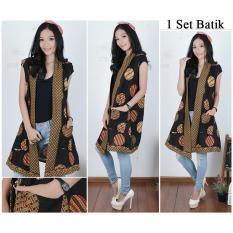 Miracle Atasan Blouse Wenni Blazer Circle Collor Bolero Batik Wanita Banten