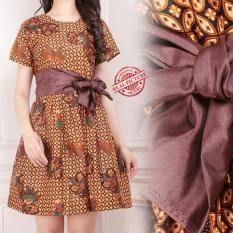 Kualitas Miracle Atasan Dress Midi Mila Batik Terusan Wanita Miracle