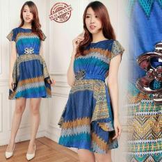 Spesifikasi Miracle Dress Batik Midi Spink Biru Yang Bagus Dan Murah