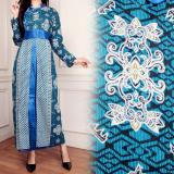 Miracle Dress Gamis Longdress Batik Sandra Biru Original