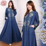 Promo Miracle Dress Maxi Delia Gamis Jeans Longdress Jumbo Wanita