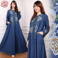 Miracle Dress Maxi Delia Gamis Jeans Longdress Jumbo Wanita Miracle Diskon 30