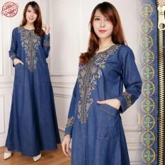 Miracle Dress Maxi Shella Gamis Jeans Longdress Wanita Terbaru