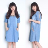 Promo Miracle Midi Dress Long Tunik Jeans Salsa Biru Muda Miracle Terbaru