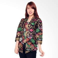 Miracle Online Shop Blouse Abaya Batik Prianka Atasan Wanita - Black Metalic