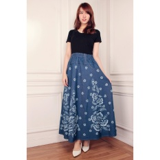 Miracle Rok Payung Maxi Jeans Siena-Navy Bunga