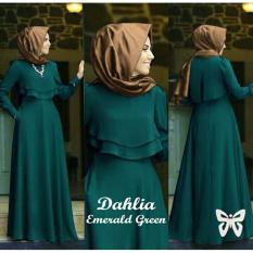 Missira Dahlia Emerald  maxi kantong kanan kiri + luaran tangan panjang depan 2 lapis belakang ada kancing bahan jersey , fit to L(tampa pasmina)
