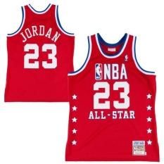 Mitchell & Ness Chicago Bulls #23 Kayu Klasik Michael Jorden Jersey 1988 89 Semua Bintang Swingman Pemain Tim Resmi Warna Tinggi Kualitas Kering Cepat Bernapas Lembut Merah XL-Intl
