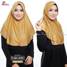 MiuLan - Kerudung Jilbab Hijab Instan Serut Plain Laura Dewasa - Emas