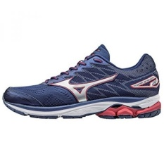 Mizuno Mens Wave Rider 20 Blue Depths/Silver/Chinese Red Athletic Shoe