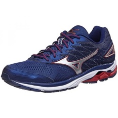 Mizuno Mens Wave Rider 20 Shoes Blue Depths / Silver / Red 8.5