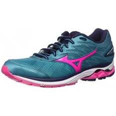 Mizuno Running Womens Wave Rider hoes, Tile Blue/Pink Glo/Peacoat, 8 B US