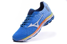 Mizuno Wave Rider 18 Shoes Breathable Slow Running Sneakers Men's Size 40-45 (Light Blue/White)