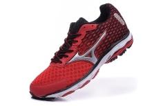 MIZUNO WAVE RIDER 18 Sepatu Bernapas Lambat Berlari Sneakers Pria's Ukuran 40-45 Aptesol (Merah/Hitam) -Intl