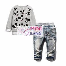 Promo Mj Grey Long Sleeve Mickey Top Set Jeans Di Jawa Timur