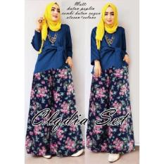MJ Set Gamis Alodia Kulot - Navy