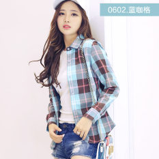 Mjx2018 Korea Fashion Style Bulu Halus Baru Bawahan Lengan Panjang Kemeja (0602 jaringan kopi biru)