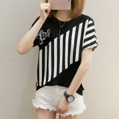 Beli Xianyuansu Kaos Wanita Lengan Pendek Motif Salur Model Longgar Warna Putih Hitam 270 Hitam Cicil