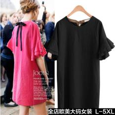 Besar Eropa atau Amerika Baru Baju Lengan Daun Lotus Gaun (Hitam) Baju Wanita