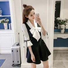 Spesifikasi Mm Untuk Meningkatkan Ukuran Terlihat Langsing Busur Vest Gaun Sifon Kemeja Gambar Warna 2Pcs Set Tempat Yang Bagus